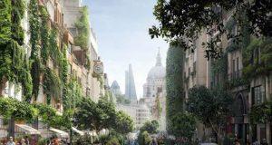 Visualisation of a greener Fleet Street. Image by WATG