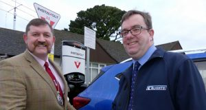 Mayor Dermot McGeough with Tim Blight from Blights Motors (IMAGE Copyright Graham Hobbs, Bideford)