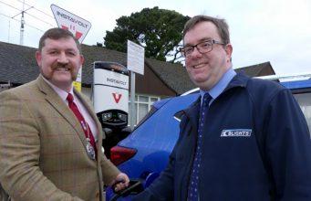 Mayor Dermot McGeough with Tim Blight from Blights Motors (IMAGE Copyright Graham Hobbs, Bideford)