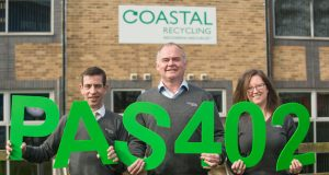 Coastal Recycling first in Southern England to be awarded PAS 402 (l to r) Nigel Woodley, sales manager; Richard Marsh, business development director and Taryn Clements, compliance manager