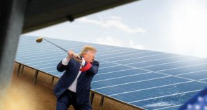 OVO Energy releases image of what appears to be Donald Trump destroying solar panels with a golf club as part of its 'Power your life differently' campaign